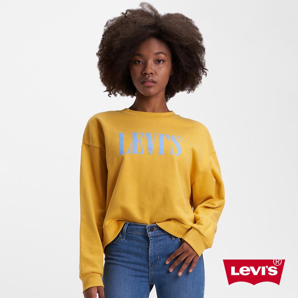 Levis 女款 重磅大學T 復古寬鬆中短版 Serif Logo 芥末黃 380GSM厚棉