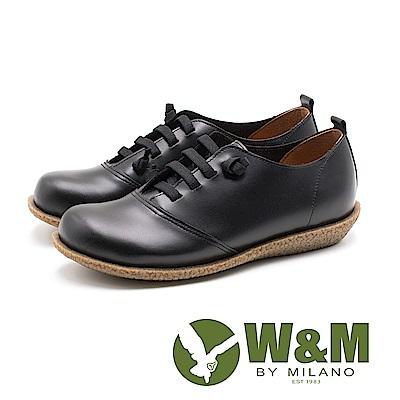 W&M 圓頭寬楦皮革耐磨休閒鞋 女鞋 - 黑(另有藍)