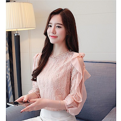 IMStyle 韓版七分袖氣質造型上衣(淡粉色)