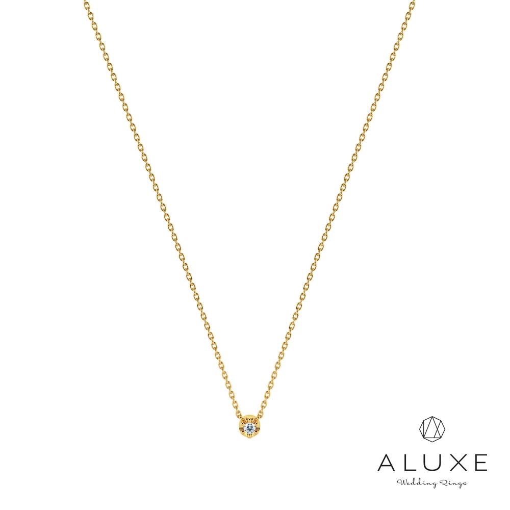 ALUXE亞立詩 Shine系列10K 雙面鑽石項鍊