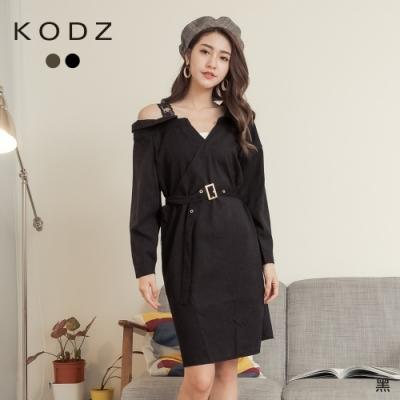 東京著衣-KODZ 時髦微性感蕾絲單肩附腰帶絨布洋裝(共二色)