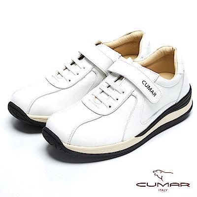 CUMAR 台灣製造 嚴選皮舒適魔術貼休閒鞋-白