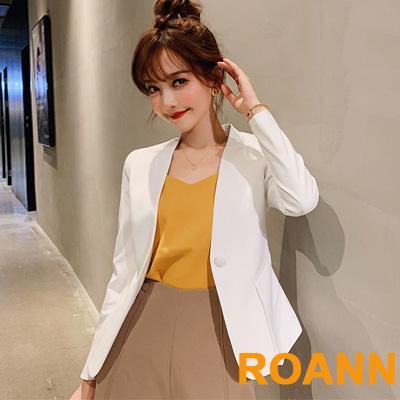 OL風純色排釦西裝外套 (共四色)-ROANN
