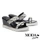 拖鞋 MODA Luxury 夏日配色編織楔型厚底拖鞋-黑 product thumbnail 1