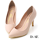 D+AF 魅力佳人‧金屬鑲片素面尖頭高跟鞋*粉