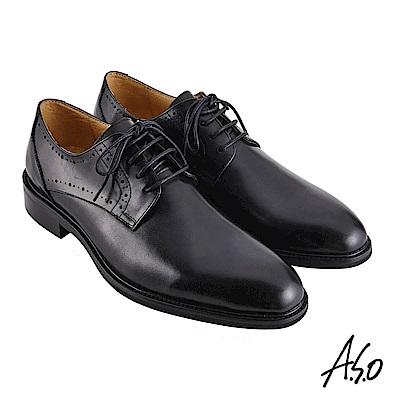 A.S.O職場通勤 職人通勤刷色工藝德比紳士鞋-黑