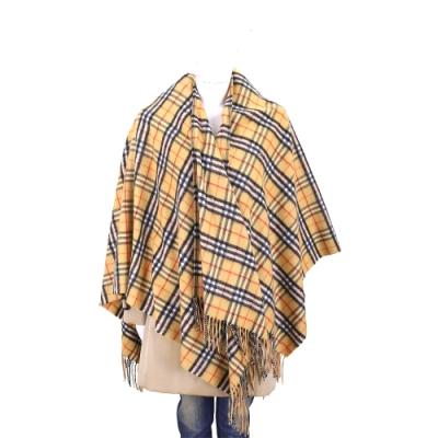 BURBERRY Vintage 大型喀什米爾古典黃美麗諾羊毛格紋披肩/圍巾