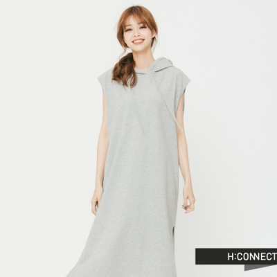H:CONNECT韓國品牌女裝俏皮純色連身帽小洋裝-灰快