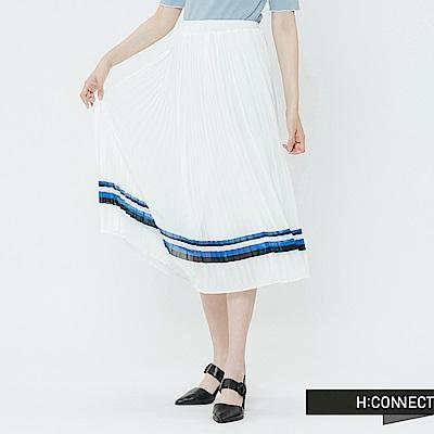 H:CONNECT 韓國品牌 女裝-撞色裙擺百摺長裙-白