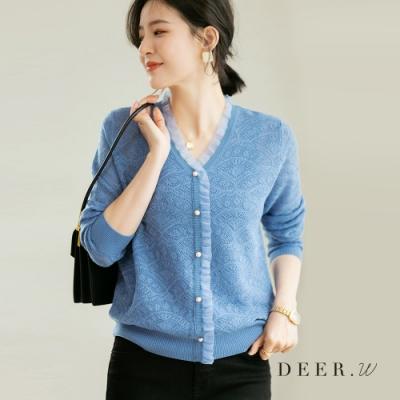 DEER.W 珠釦網紗鉤花針織上衣(藍)