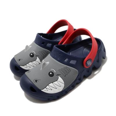 Skechers 涼拖鞋 Zaggle-Heat Swell 童鞋 鯊魚 水鞋 園丁鞋 避震 緩衝 中童 藍 紅 400074LNVRD