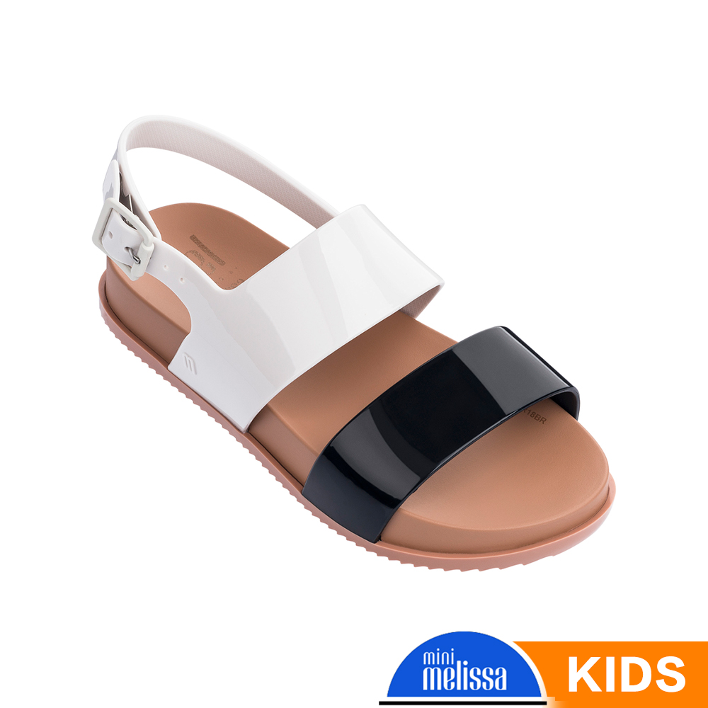 Melissa 經典撞色涼鞋-兒童款-黑白
