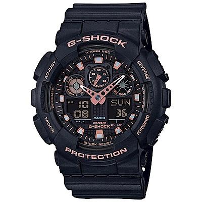 G-SHOCK 街頭混搭風雙顯錶(GA-100GBX-1A4)-玫瑰金/51.2mm