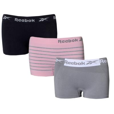 【REEBOK】運動甜心透氣無縫彈力女平口內褲三件組(黑x粉線條x灰)