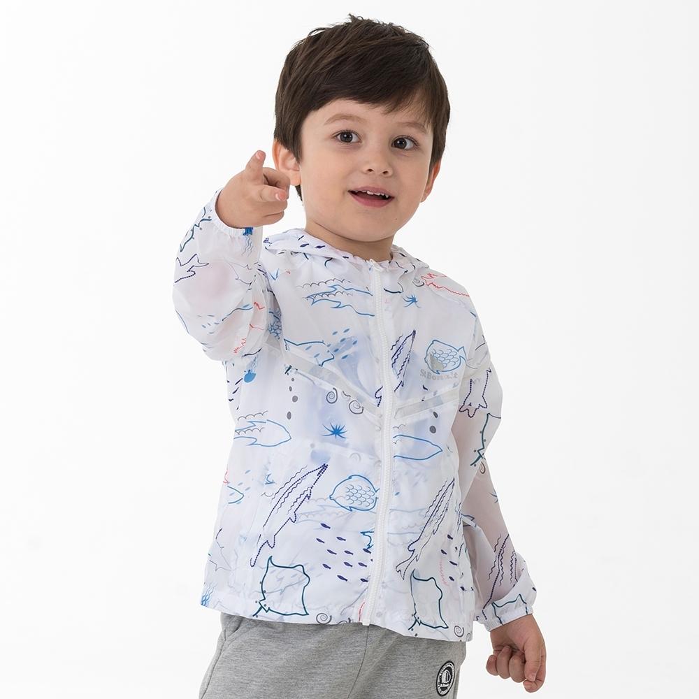 【St.Bonalt 聖伯納】童款亮彩輕透防曬連帽外套 (9005-多彩魚類)