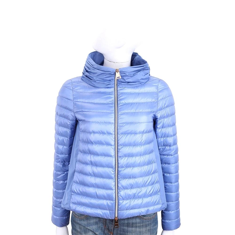 HERNO 水藍色打摺立領設計後拼接絎縫羽絨外套
