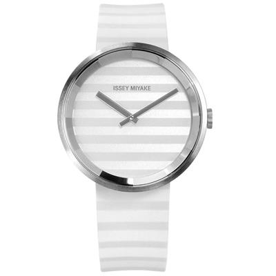 ISSEY MIYAKE 三宅一生 PLEASE 時裝防水橡膠手錶-銀x白/40mm
