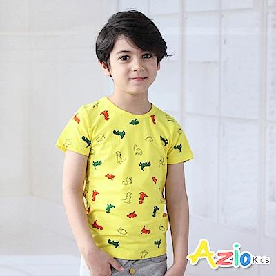 Azio Kids 上衣 滿版橘綠恐龍短袖T恤(黃)