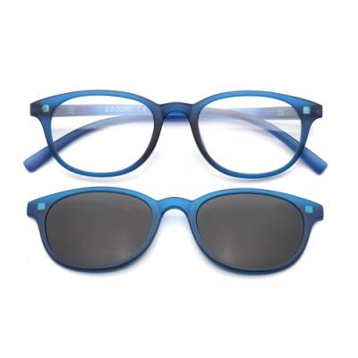 【 Z·ZOOM 】老花眼鏡 磁吸太陽眼鏡系列 時尚復古經典款 (藍色)