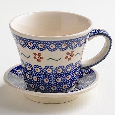 波蘭陶手工製 紅點藍花寬口茶杯240ml