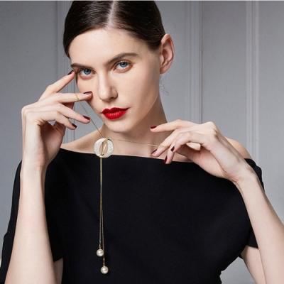 梨花HaNA 韓國滿鑽圈型天然珍珠風格長項鍊銀色