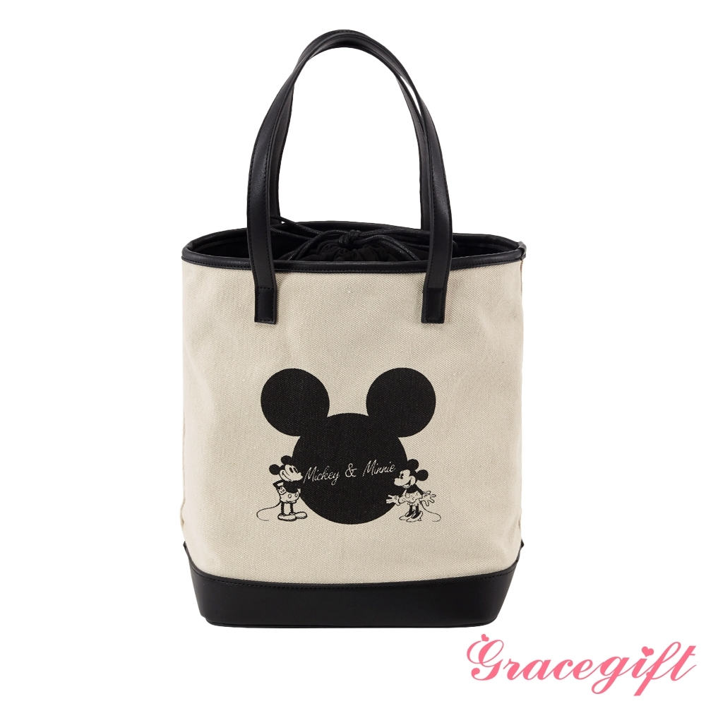 Disney collection by grace gift米奇拉繩帆布水桶包 黑