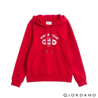 GIORDANO  女裝CHECKS連帽T恤 - 21 新冠軍紅