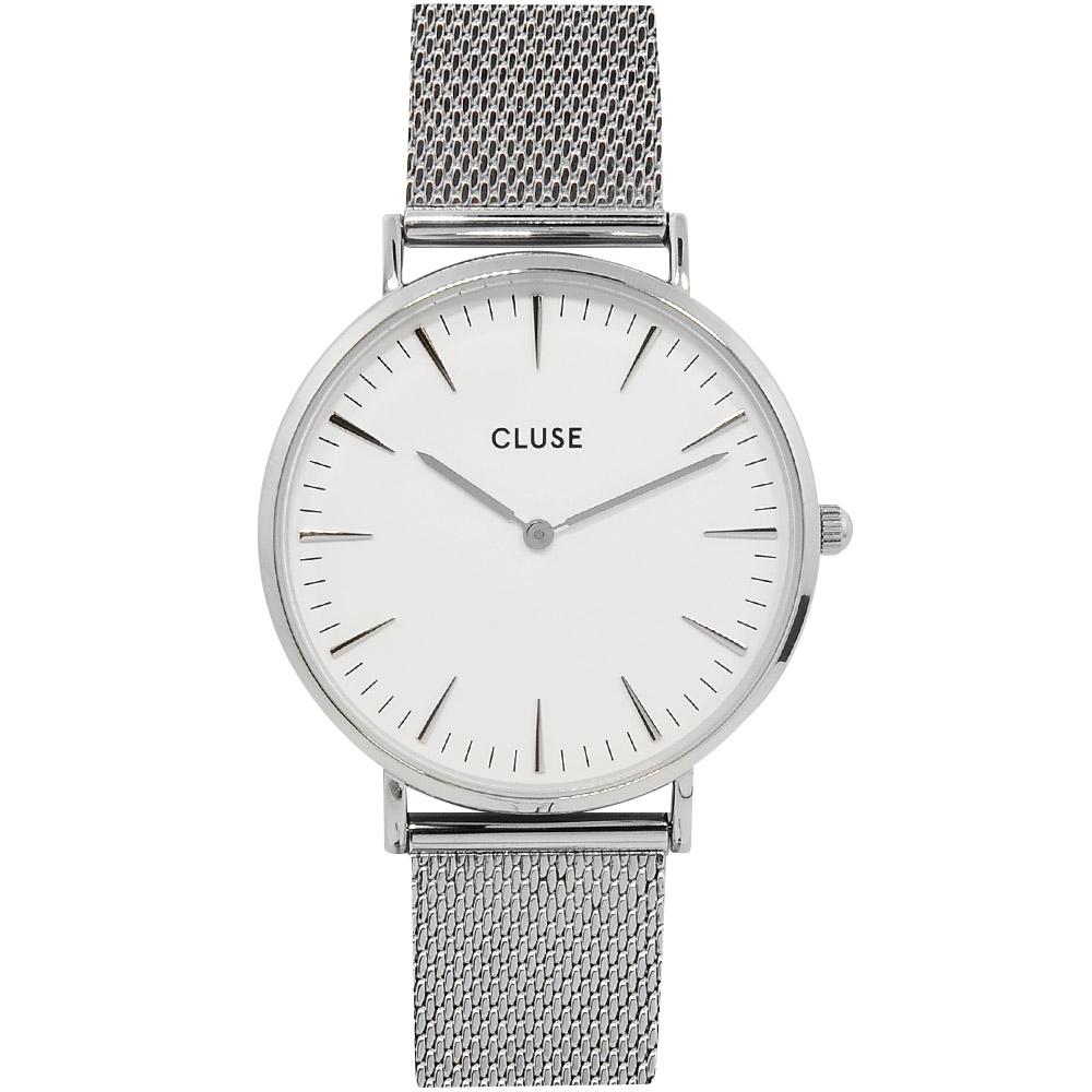 CLUSE 波西米亞不鏽鋼系列 白錶盤/銀色金屬錶帶38mm