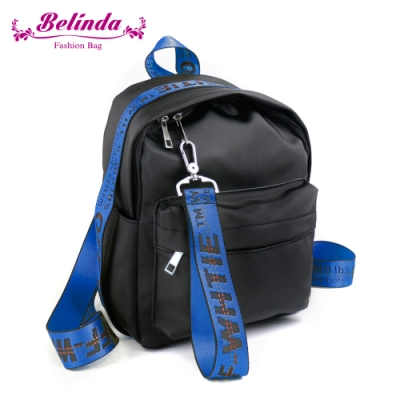 【Belinda】潮流織帶尼龍後背包(藍色)