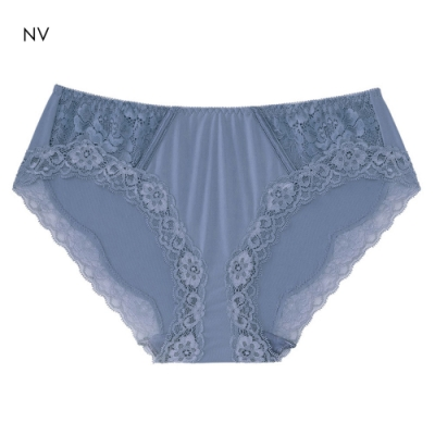 aimerfeel 蕾絲高脇邊淑女內褲-灰藍色-667120-NV