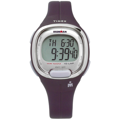 TIMEX 天美時 IRONMAN 鐵人系列 計時碼錶鬧鈴防水電子橡膠手錶-紫色/34mm