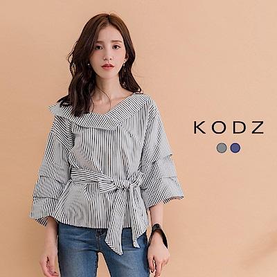 東京著衣-KODZ 條紋V領多層荷葉澎袖上衣-S.M.L(共二色)