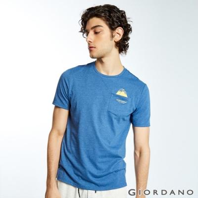 GIORDANO 男裝DEAR WORLD 系列印花口袋T恤-53 雪花中靛藍