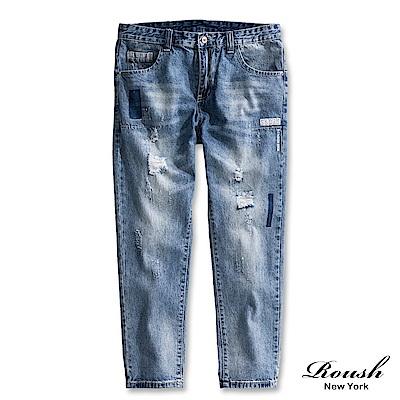 Roush 特殊膠印刷白破壞淺色9分牛仔褲