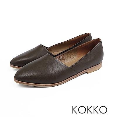 KOKKO -心跳脈動彎折軟羊皮素面平底鞋-苔蘚綠