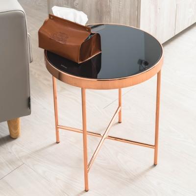 dayneeds 強化玻璃咖啡桌邊桌(玫瑰金)
