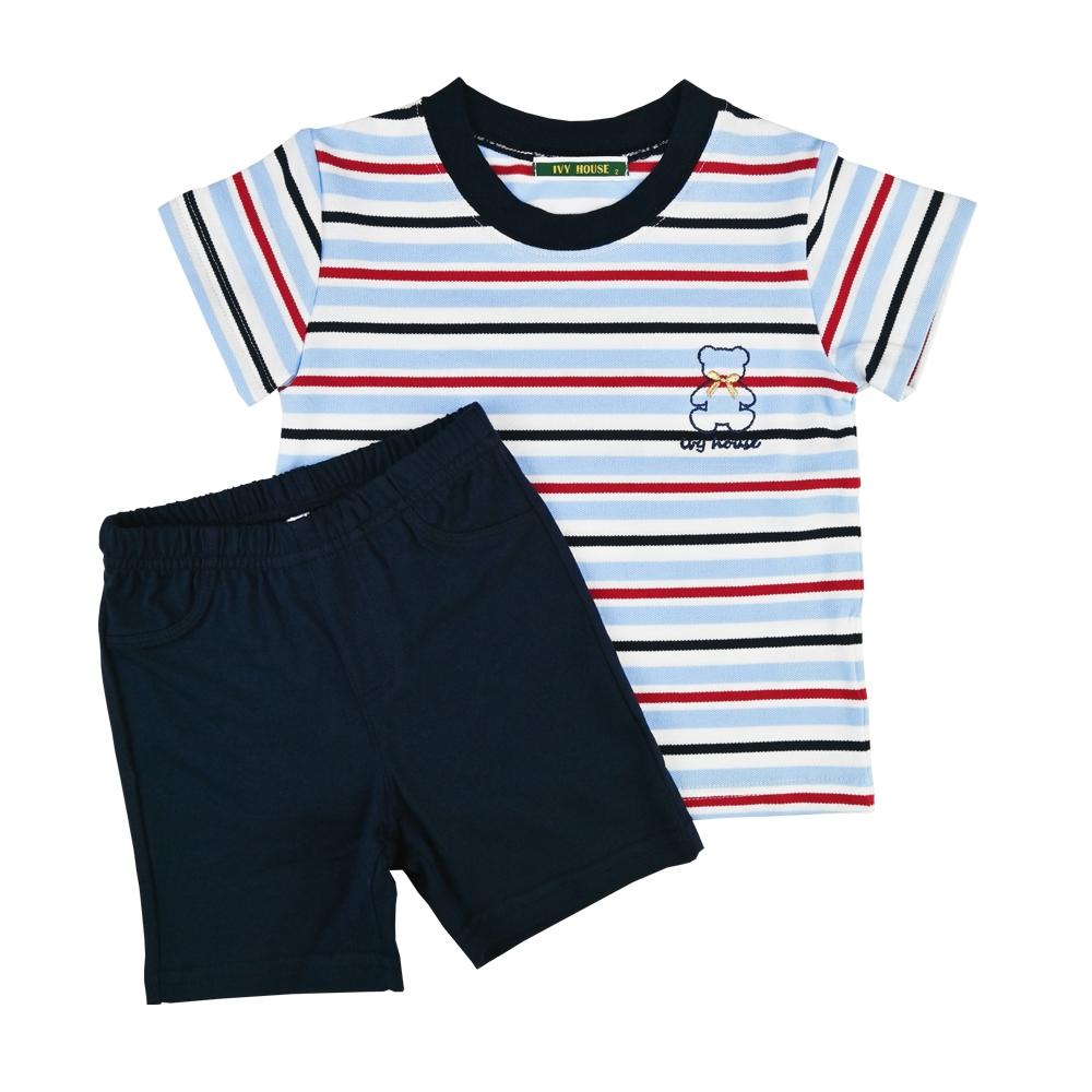 IVY HOUSE 常春藤童裝 棉質加萊卡橫條 圓領T恤 套裝(85cm~115cm)台灣製