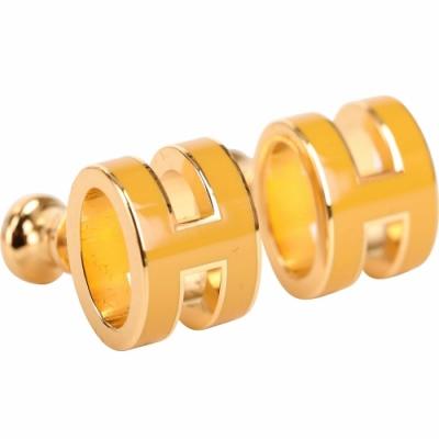 HERMES Pop H LOGO 經典圓弧設計耳環(黃色x金)