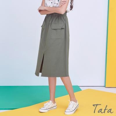 裝飾繫帶微花苞半身裙 共二色 TATA