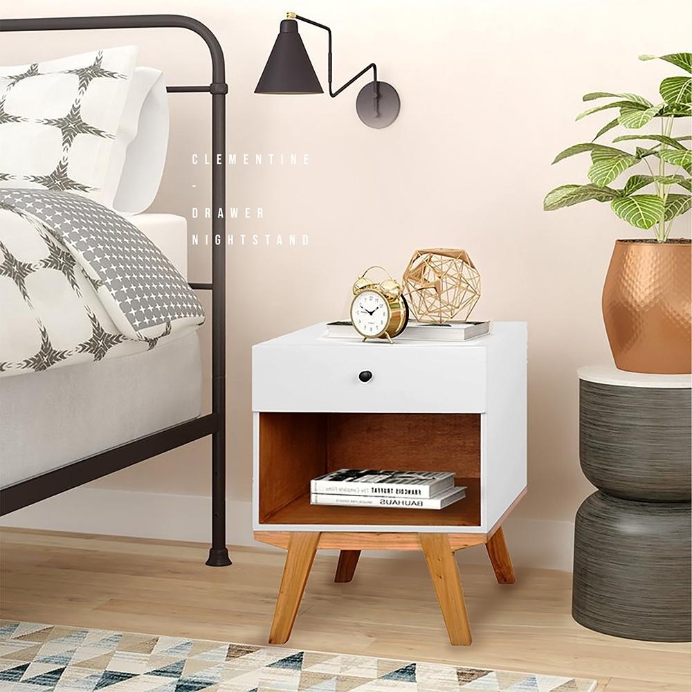 E-home Clementine克萊蒙汀單抽收納床頭櫃 白色