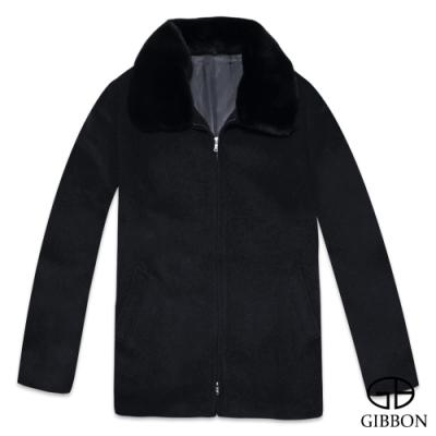 GIBBON 英倫紳士氣質毛領羊毛大衣-二色