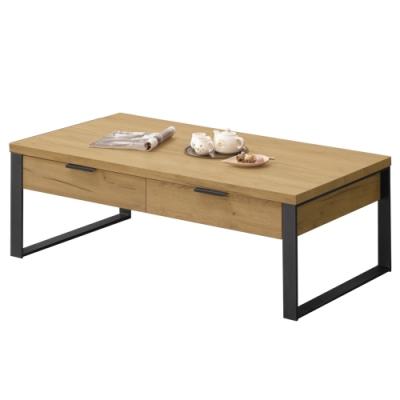 【AT HOME】日式簡約黃金橡木色二抽大茶几/客廳桌/矮桌/咖啡桌(雅博德)