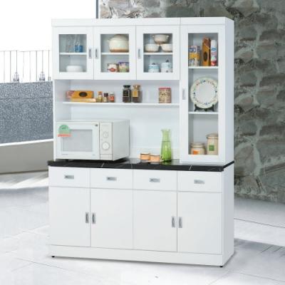 MUNA 純白5.3尺石面餐櫃/碗碟櫃(全組)  160X42.7X202cm