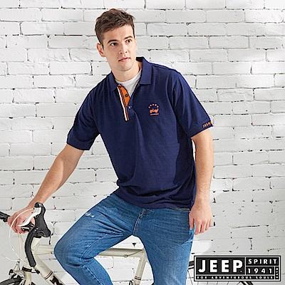 JEEP 復古造型素面短袖POLO衫-藍色