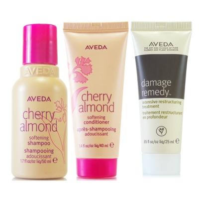 AVEDA 甜馨洗髮精50ml 甜馨潤髮乳40ml 復原配方強效護髮乳25ml