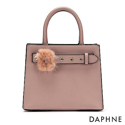 達芙妮DAPHNE-毛毛皮帶扣手提方包-淺粉
