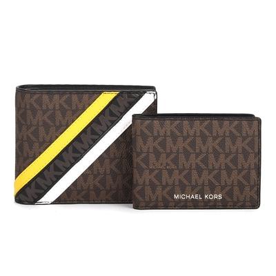 MICHAEL KORS 經典防刮皮革cooper老花LOGO拼接短夾(附證件夾)-咖啡色/黃色