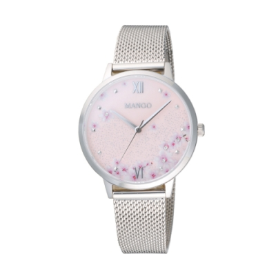 MANGO 星願花語氣質腕錶-銀