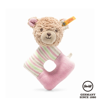 STEIFF德國金耳釦泰迪熊  GOTS Rosy Teddy bear grip toy with rattle 可愛小熊 (嬰幼兒手搖鈴)