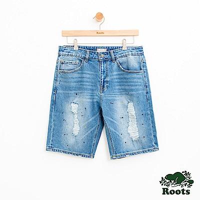 男裝Roots-DENIM-刷破牛仔短褲-藍